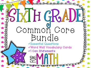 6th Grade Math Common Core Bundle! Everything You Need! *Neon Stars*
