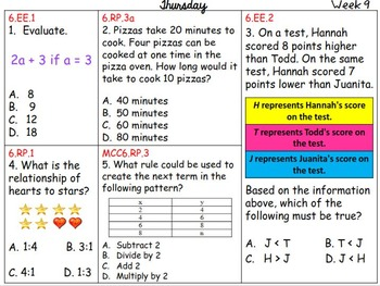 6th Grade Math Common Core Daily Warm Ups {Weeks 9-12}