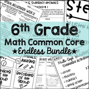 6th Grade Math Common Core Endless Growing Bundle