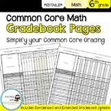 6th Math Common Core Gradebook Pages **EDITABLE**