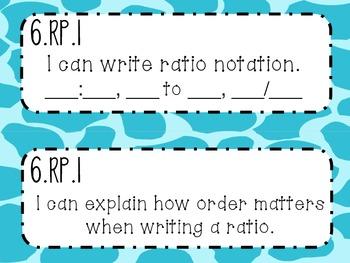 6th Grade Math Common Core *I Can Statements* Giraffe Print