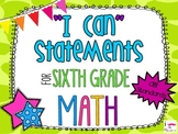 6th Grade Math Common Core *I Can Statements* Giraffe Print