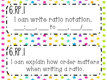 6th Grade Math Common Core *I Can Statements* Neon Stars