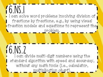 6th Grade Math Common Core *I Can Statements* Zebra Print