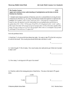6th Grade Math Common Core Number Sense Worksheet Series by Mrs Dambach