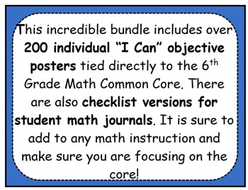 6th Grade Math Common Core Objectives and Journal Checklist Bundle