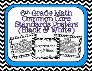 6th Grade Math Common Core Posters- Black and White