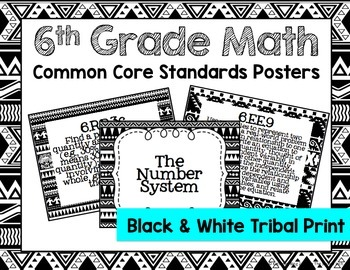 6th Grade Math Common Core Posters- Black and White Tribal Print