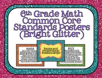 6th Grade Math Common Core Posters- Bright Glitter Design!