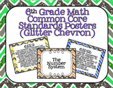 6th Grade Math Common Core Posters- Chevron Glitter