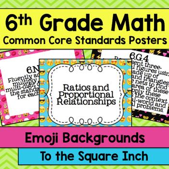 6th Grade Math Common Core Posters- Emoji