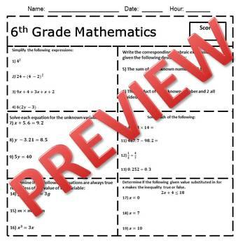 6th Grade Math Common Core Pre/Post Test/Assessment Entire Year