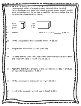 6th Grade Math Common Core Pretest/Post Test