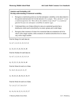 6th Grade Math Common Core Probability Worksheet Series