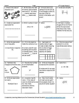 6th Grade Math Common Core Progress Monitoring Assessment Pack