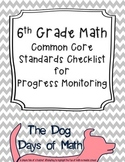 6th Grade Math Common Core Standard Checklist for Progress Monitoring - Editable