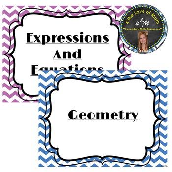 6th Grade Math Common Core Standard Posters {Chevron}