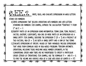 6th Grade Math Common Core Standards