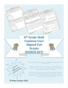 6th Grade Math Common Core Standards Exit Tickets ANSWER KEY for EE, G, and SP