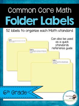 6th Grade Math Common Core Standards Folder Labels