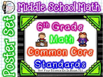 6th Grade Math Common Core Standards Poster Set