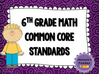 6th Grade Math Common Core Standards - purple swirls