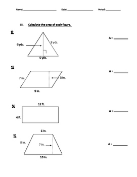 6th Grade Math Common Core Unit 5 Test- Regular & Accommodated
