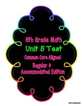 6th Grade Math Common Core Unit 5 Test- Regular & Accommodated