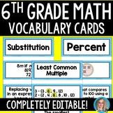 6th Grade Math Vocabulary Cards