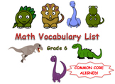 6th Grade Math Common Core Vocabulary List
