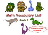 6th Grade Math Common Core Vocabulary List