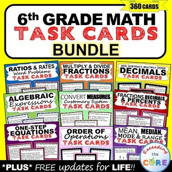 6th Grade Math Common Core WORD PROBLEM TASK CARDS { BUNDL