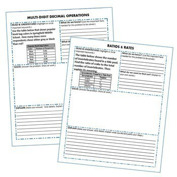 6th Grade Math Common Core WORD PROBLEMS with Graphic Organizer { BUNDLE }