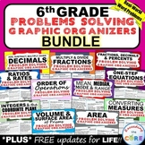 Distance Learning 6th Grade Math WORD PROBLEMS Graphic Organizer BUNDLE