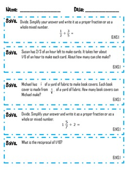 6th Grade Math Common Core Weekly Daily Warm Ups