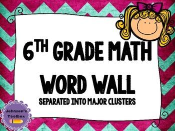 6th Grade Math Common Core Word wall - bright chevron