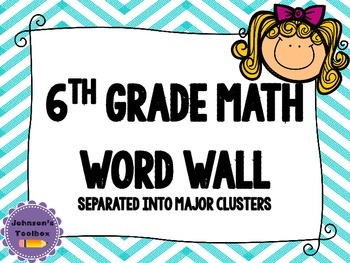 6th Grade Math Common Core Word wall - chevron