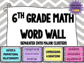 6th Grade Math Common Core Word wall - grey chevron