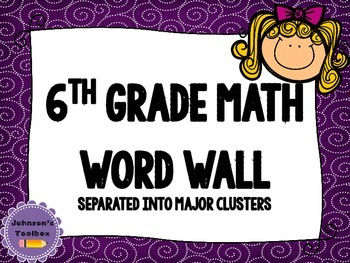 6th Grade Math Common Core Word wall - purple swirls