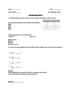 """6th Grade Math Common Core """"non-negotiable #1"""" questions"""