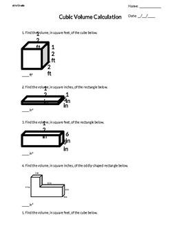 6th Grade Math - Cubic Volume Worksheet