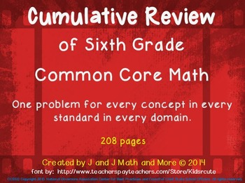 6th Grade Math:  A Class Presentation to Review all the Common Core Concepts