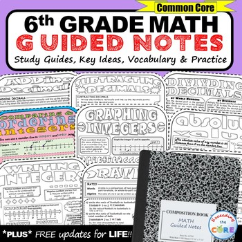 6th Grade Doodle Math Bundle - Interactive Math Notebooks (Guided Notes)