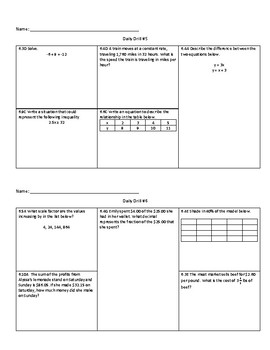 6th Grade Math Daily Drill (STAAR Review)