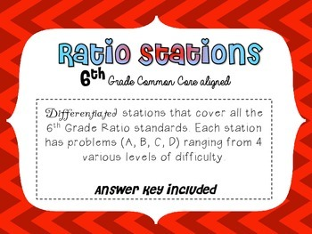 6th Grade Math Differentiated Ratio Stations