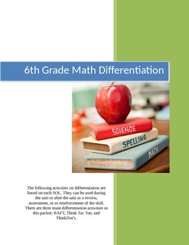6th Grade Math Differentiation Activities