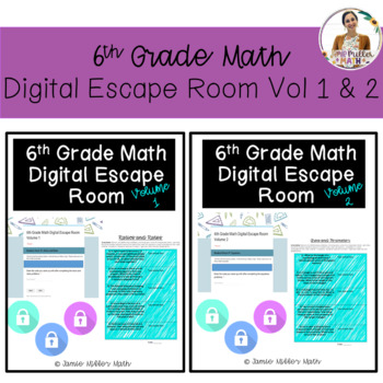 6th Grade Math Digital Escape Room Bundle (Volumes 1 and 2)- Distance Learning