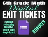 6th Grade Math *Digital* Exit Tickets   Integers