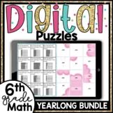 6th Grade Math Digital Puzzles Growing Yearlong Bundle