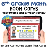 6th Grade Math Review and Test Prep Boom Cards | Digital T